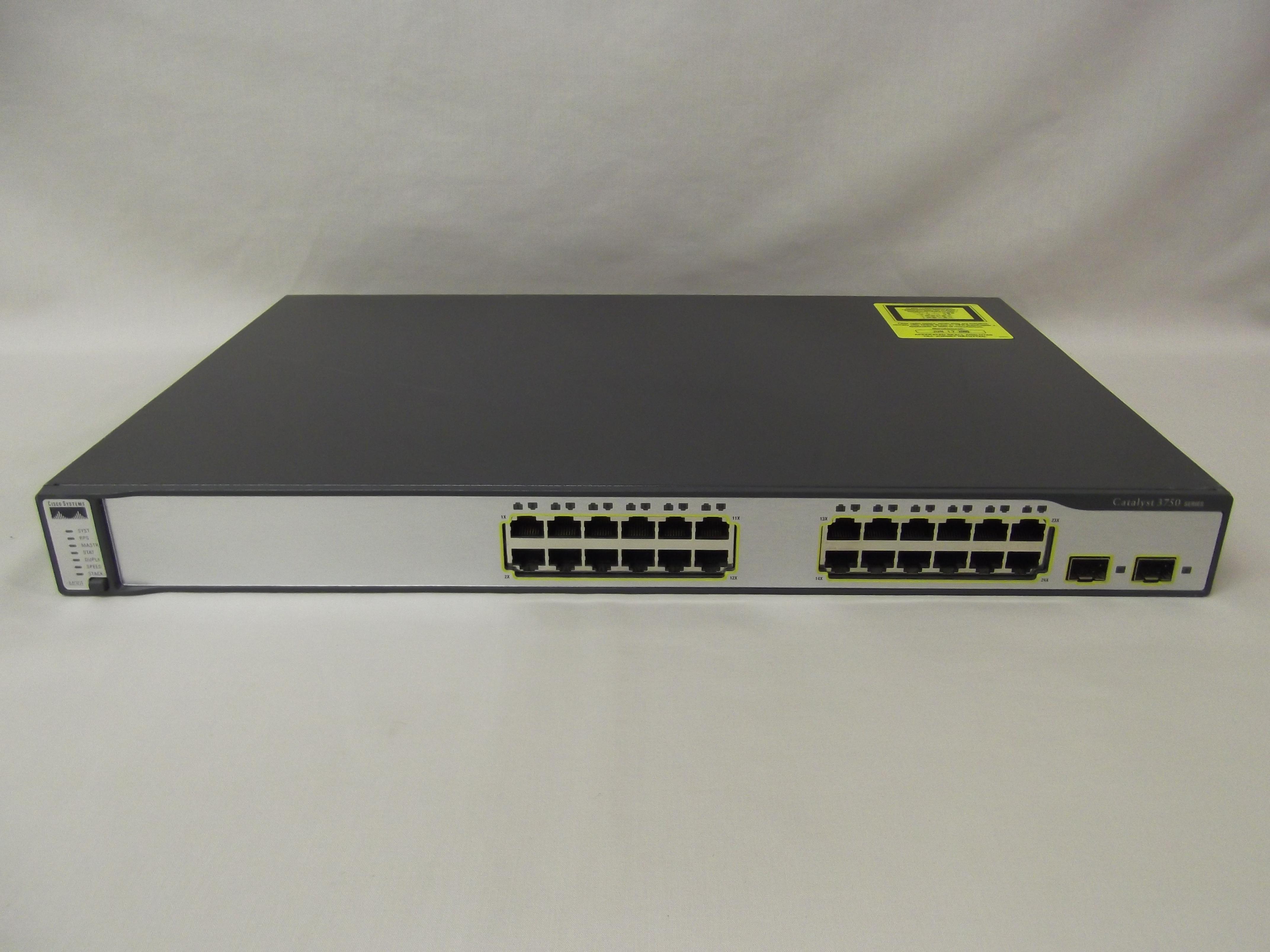 WS-C3750-24TS-S Cisco Catalyst 3750 24 10/100 Ports + 2 SFP